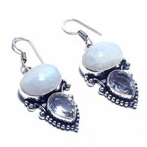 Rainbow Moonstone White Topaz & Silver Earrings